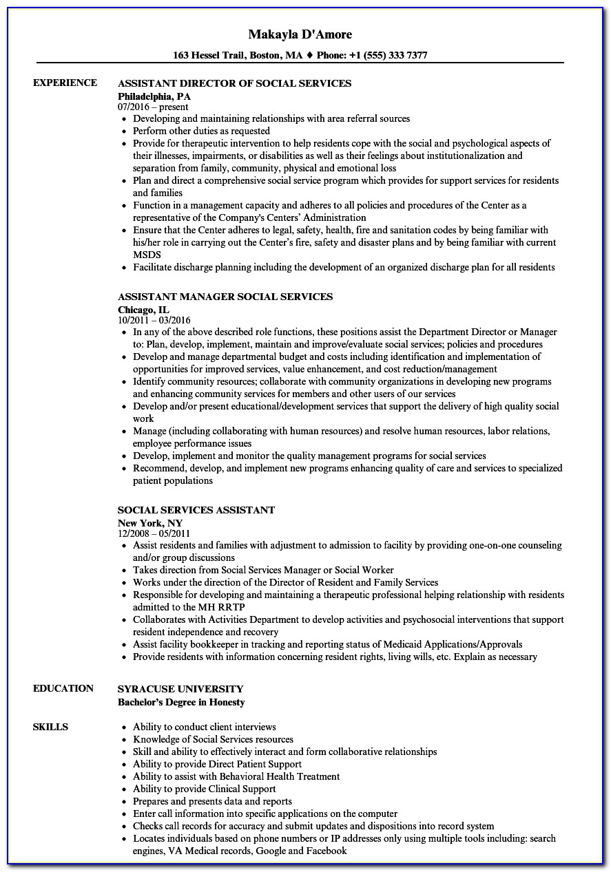 Sample Human Services Graduate Resume