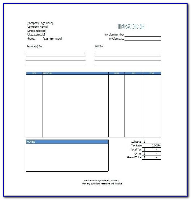 Sample Invoice For Services Rendered Word