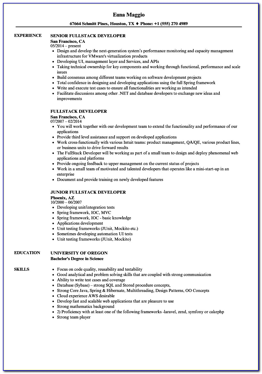 Sample Java Developer Resume Format