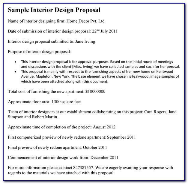 Sample Proposal Letter For Interior Design Services