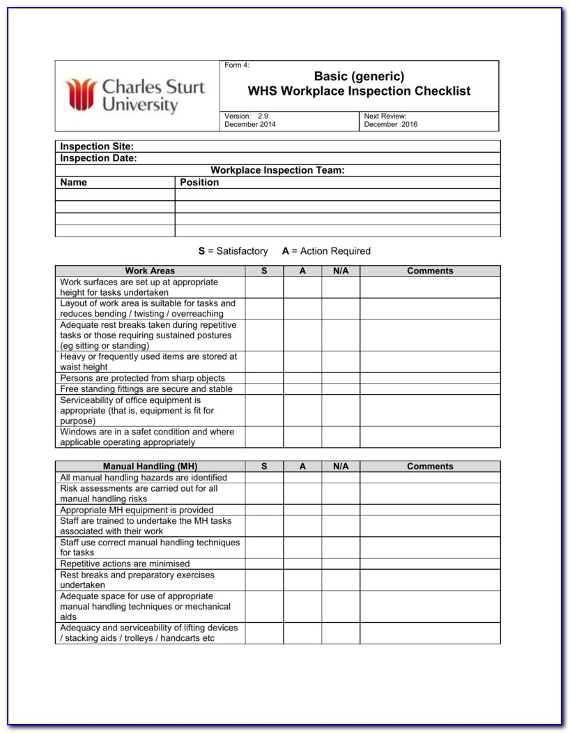 Scaffold Inspection Checklist Free Template