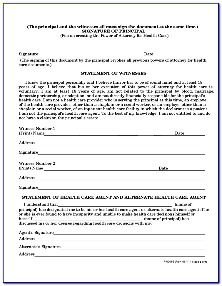 State Of Wisconsin Health Care Power Of Attorney Form