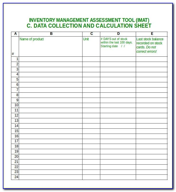 Stationary Inventory Excel Sheet Sample
