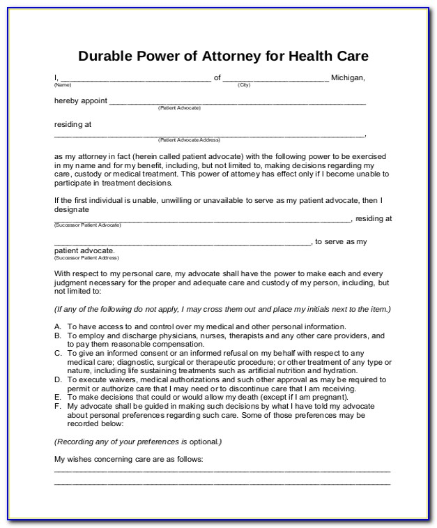 Statutory Form Durable Power Of Attorney For Health Care California