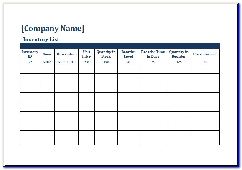Stock Inventory Excel Template Free