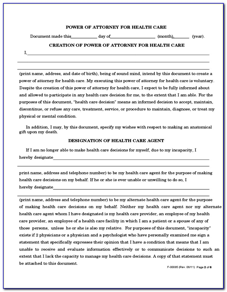 Wi Health Care Power Of Attorney Form