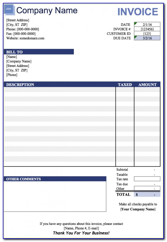 Word Doc Invoice Template Free