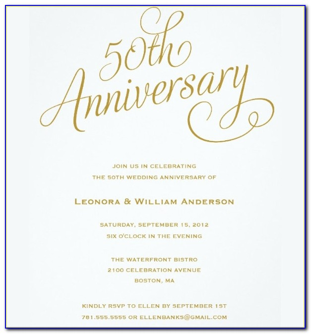 50th Wedding Anniversary Invitation Templates Free Download