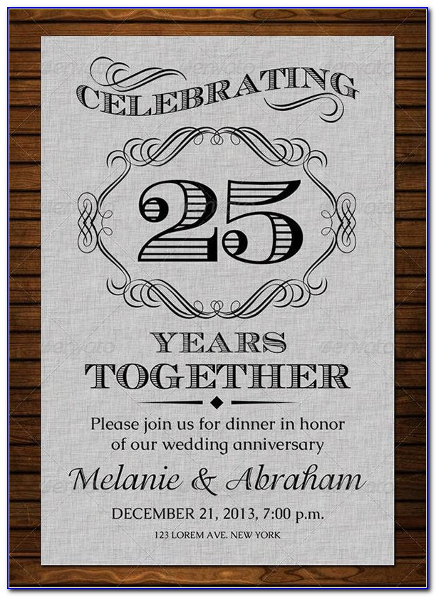 60th Wedding Anniversary Invitations Templates Free Download