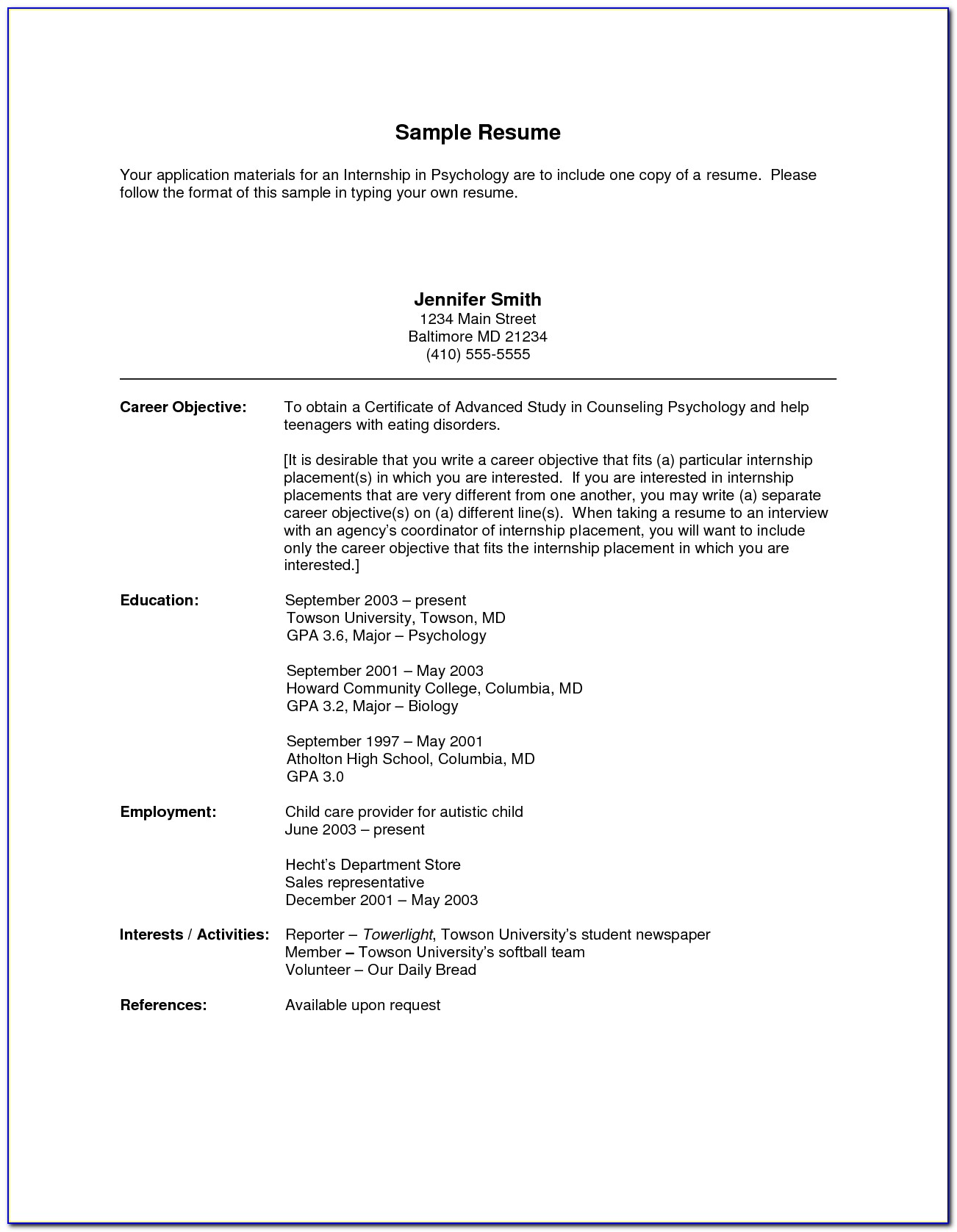 a good resume for a highschool student