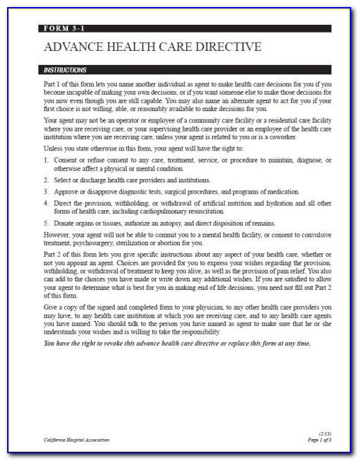 Advance Healthcare Directive Form California Pdf