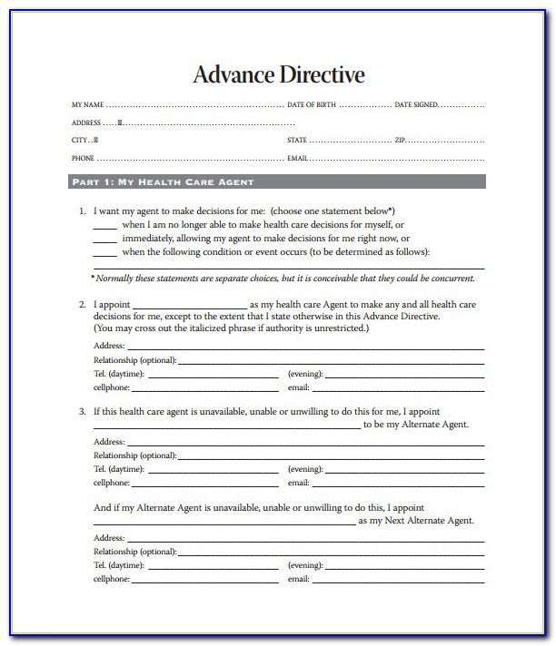 Advance Healthcare Directive Form Florida