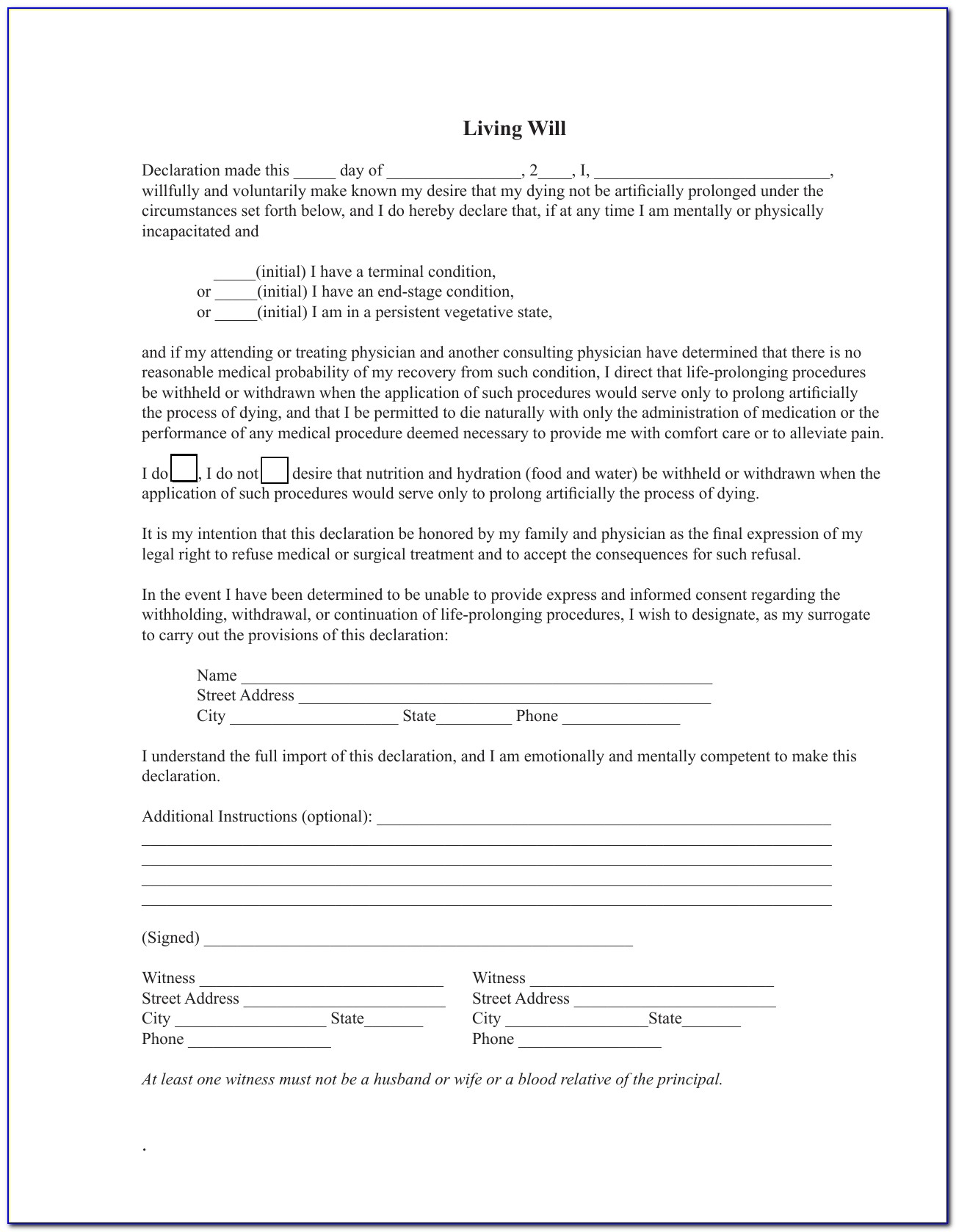 Advance Healthcare Directive Template
