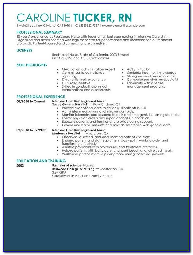 Best Nursing Resume Example
