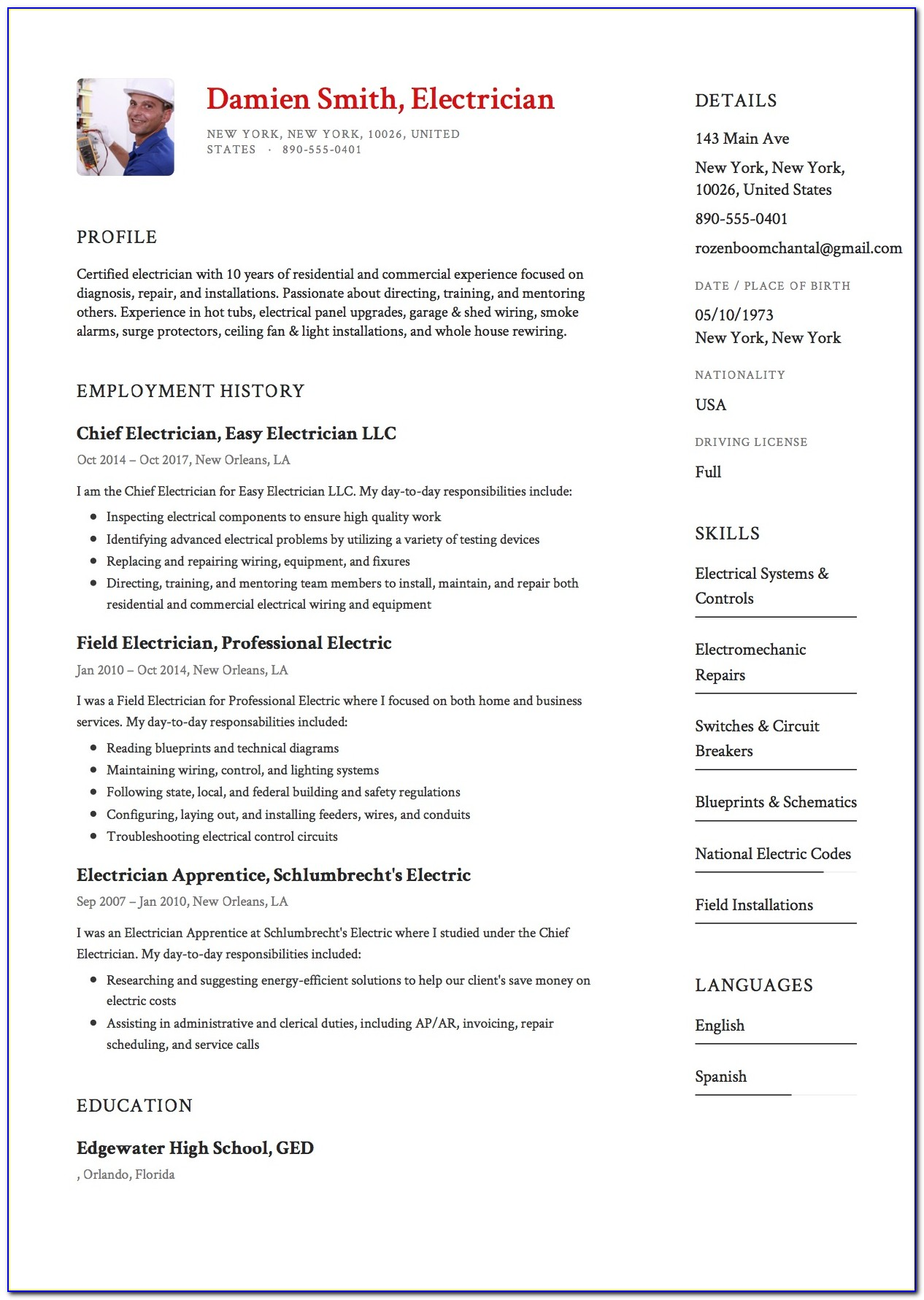 Best Resume For Teaching Position