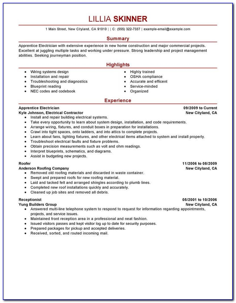 Best Resume Template For Internship