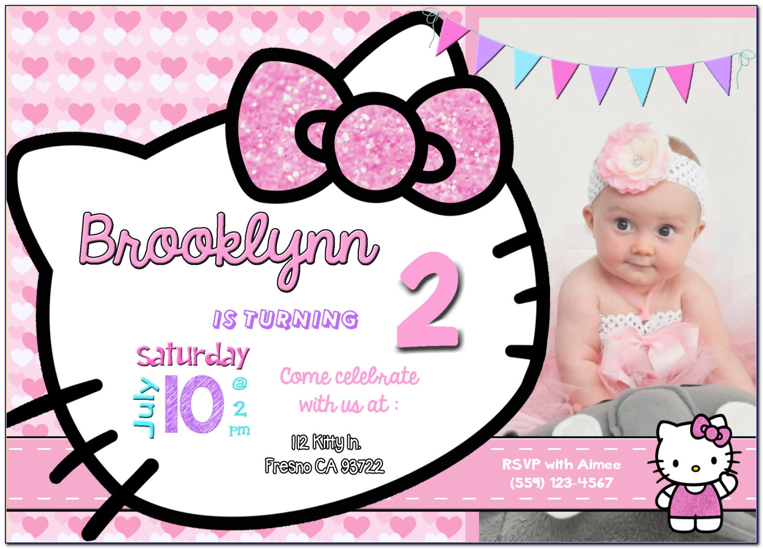 Birthday Invitation Card Layout Hello Kitty