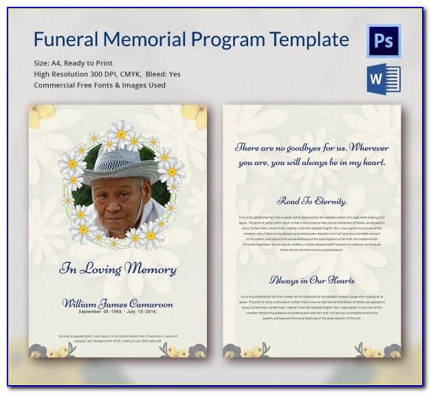 Blank Funeral Program Template Free Download