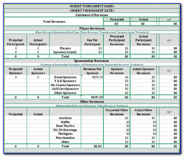 Charity Golf Tournament Budget Template