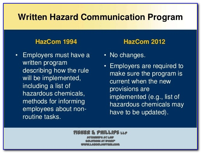 Chemical Hazard Communication Program Template