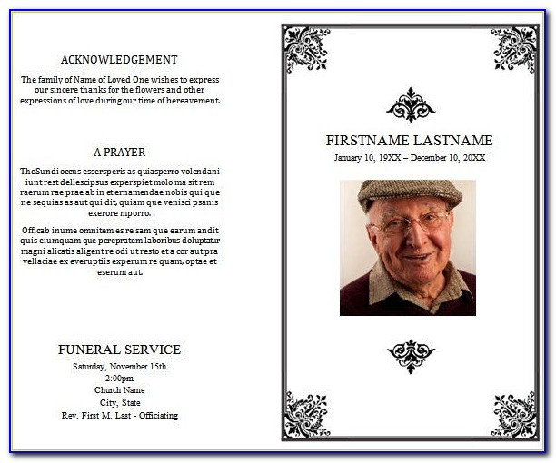 Church Funeral Program Templates Free