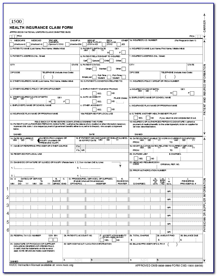 Cms 1500 Form Template Download Free