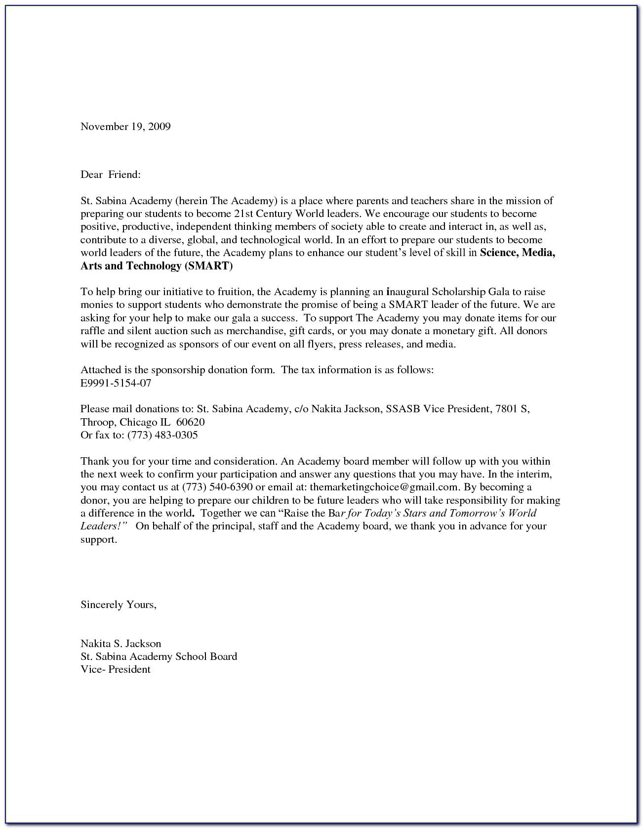 Donation Letter Sample For School