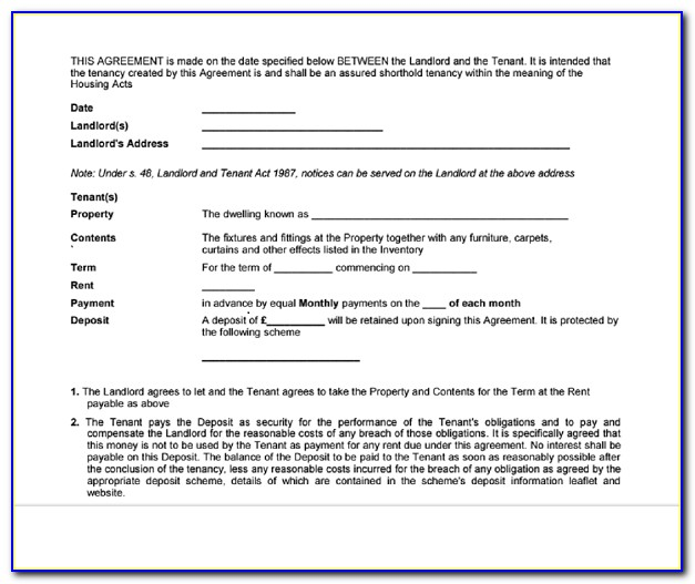 Download Free Tenancy Agreement Form Scotland