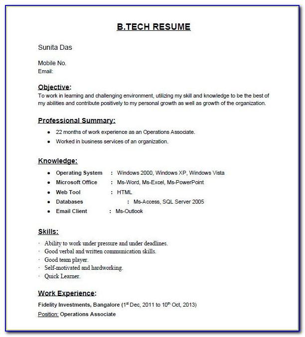 Engineering Fresher Resume Templates Word