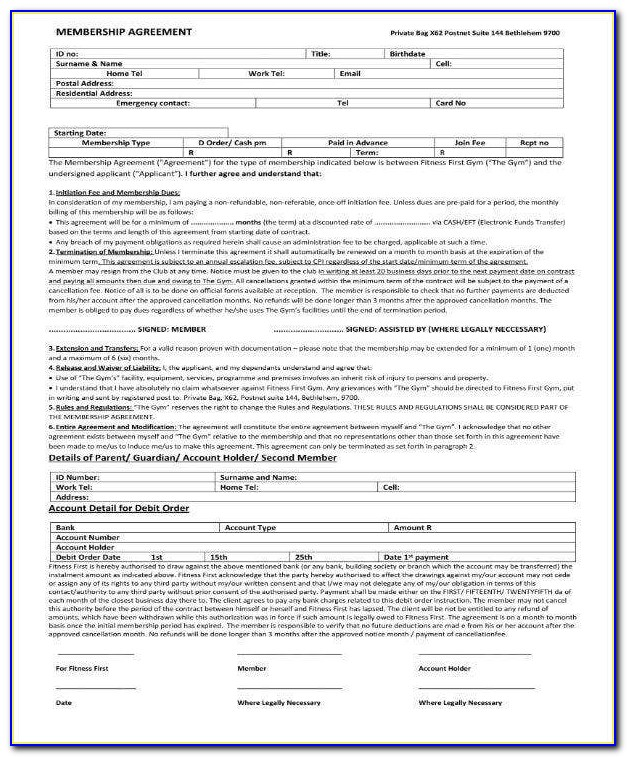 Fitness Membership Contract Template