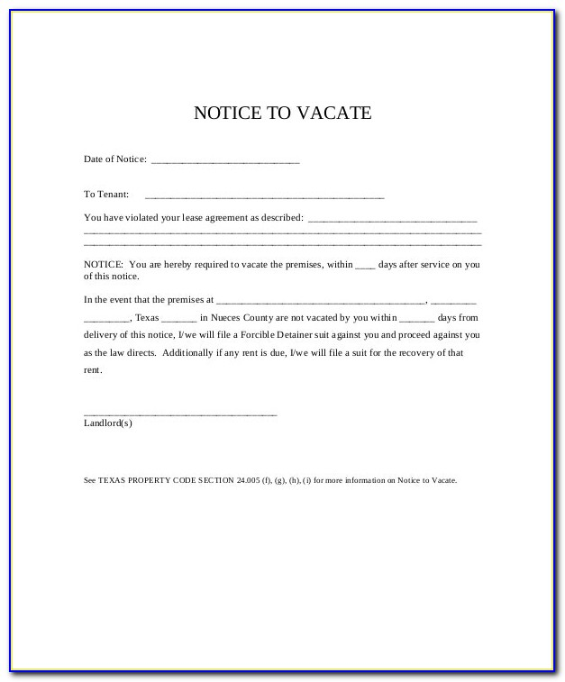 Free 3 Day Notice To Vacate Template