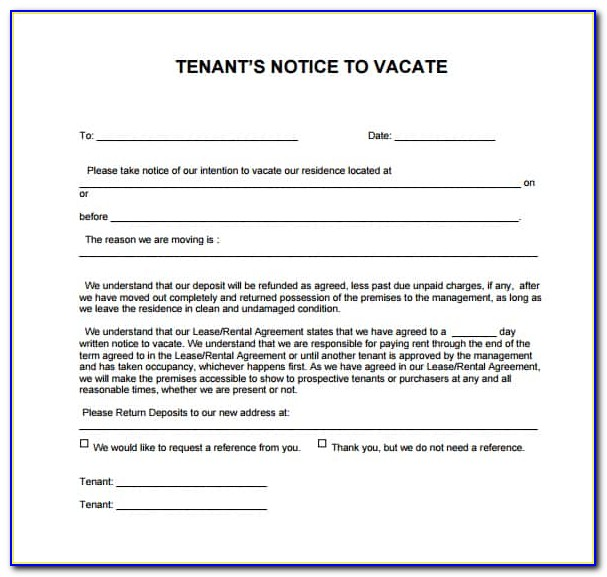 Free 60 Day Notice To Vacate Template