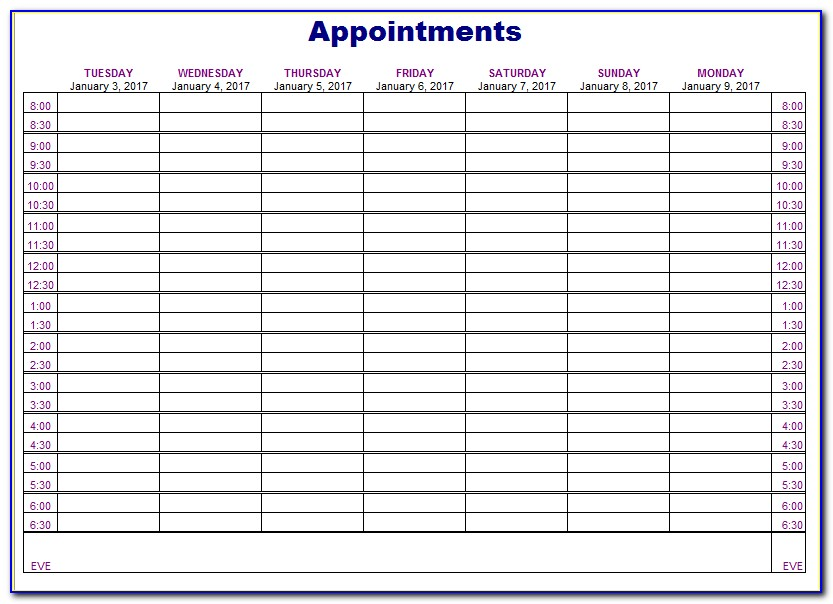 Free Appointment Schedule Template