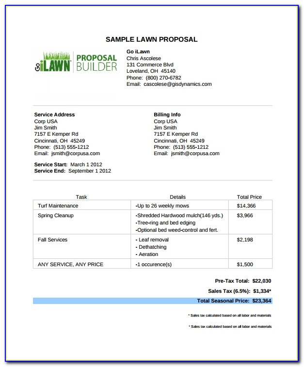 Free Bid Proposal Template For Lawn Care