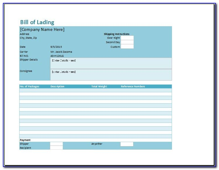 Free Bill Of Lading Template Downloads