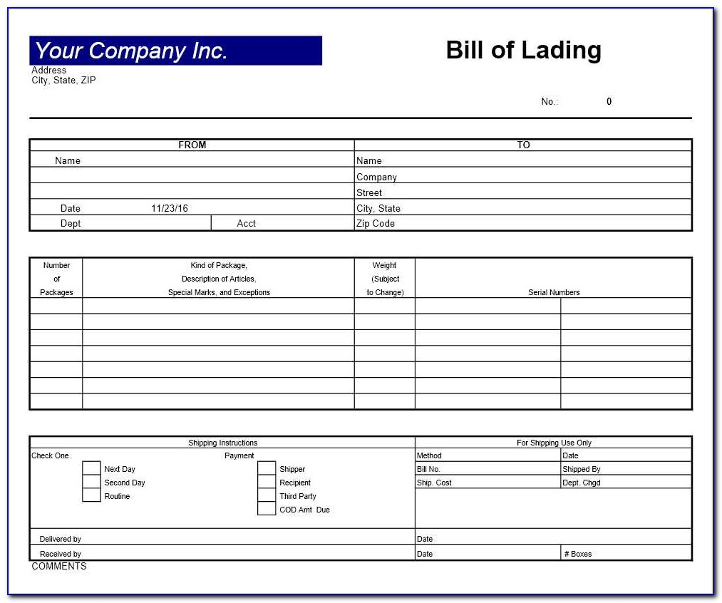 Free Bill Of Lading Template Google Docs