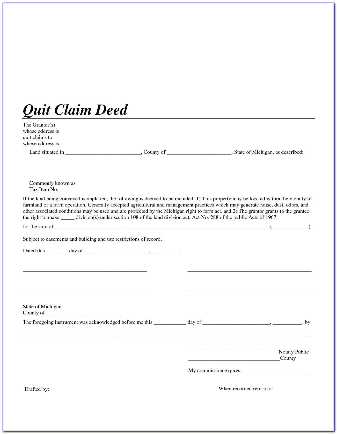 Free Blank Quit Claim Deed Form Florida