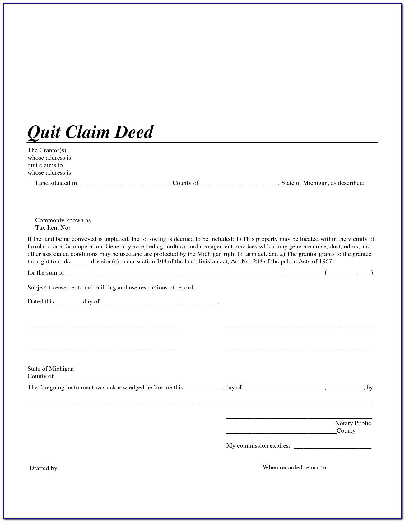 Free Blank Quit Claim Deed Form Florida