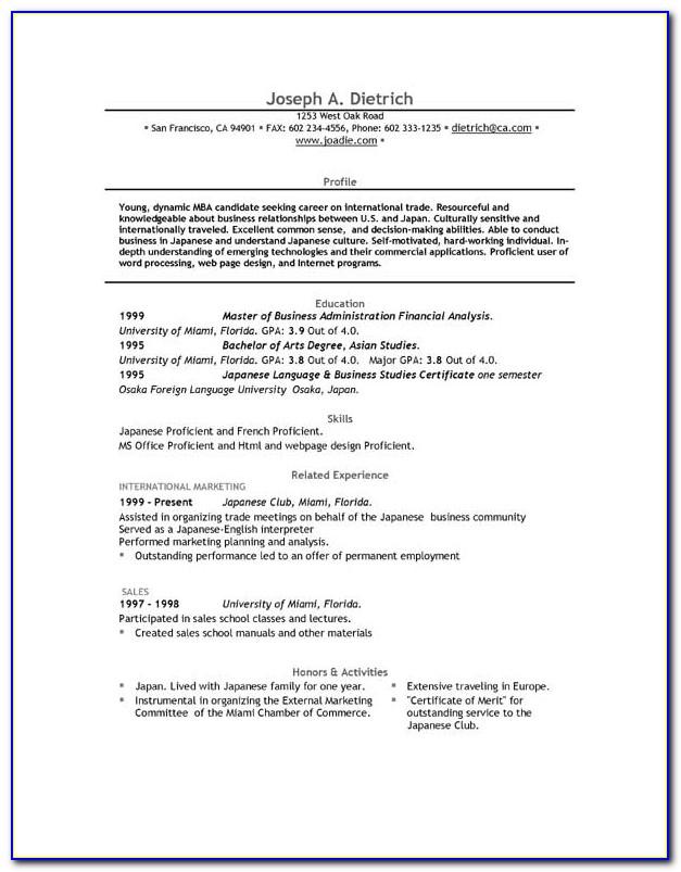 Free Blank Resume Templates Printable