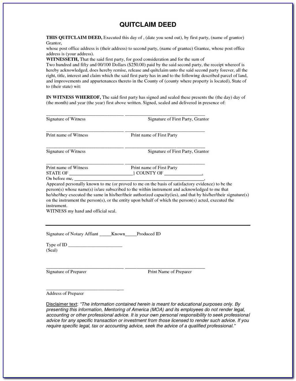 Free California Quit Claim Deed Form