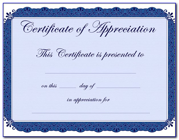 Free Certificate Of Appreciation Template Psd