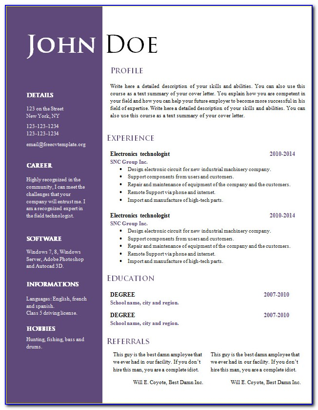 Free Creative Resume Templates Download Word