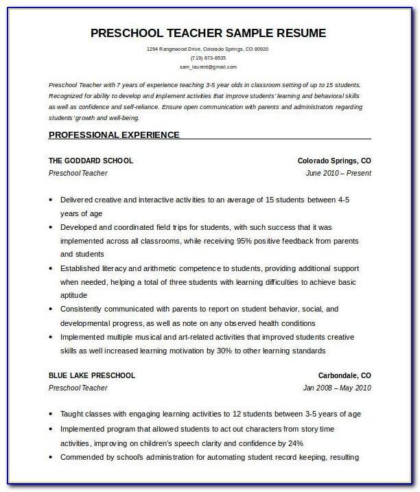 Free Download Cv Format For Teaching Job