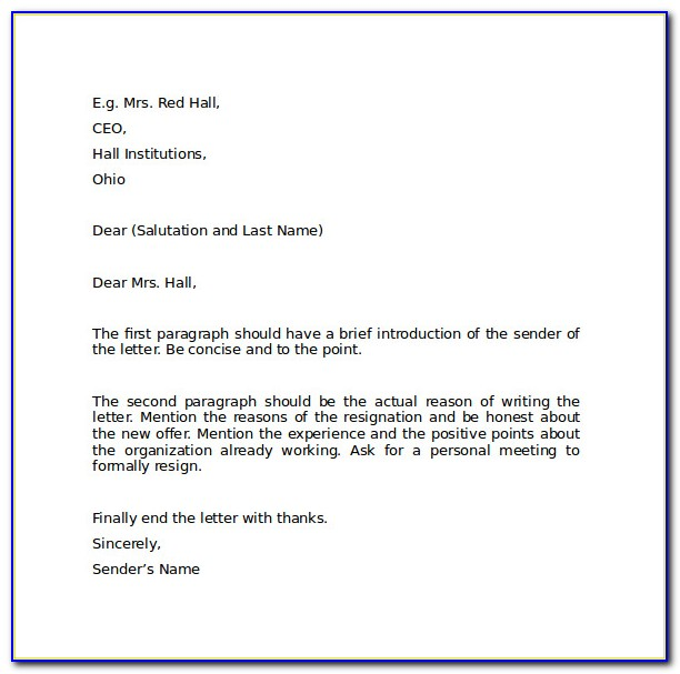 Free Download Resignation Letter Format Pdf