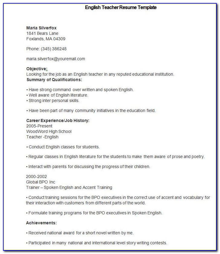 Free Download Resume Format Word Document