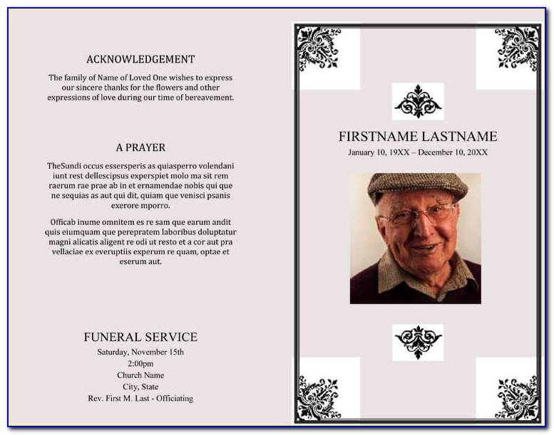 Free Editable Funeral Program Template Doc