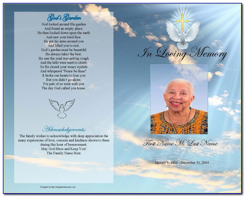 Free Editable Funeral Program Template Microsoft Publisher