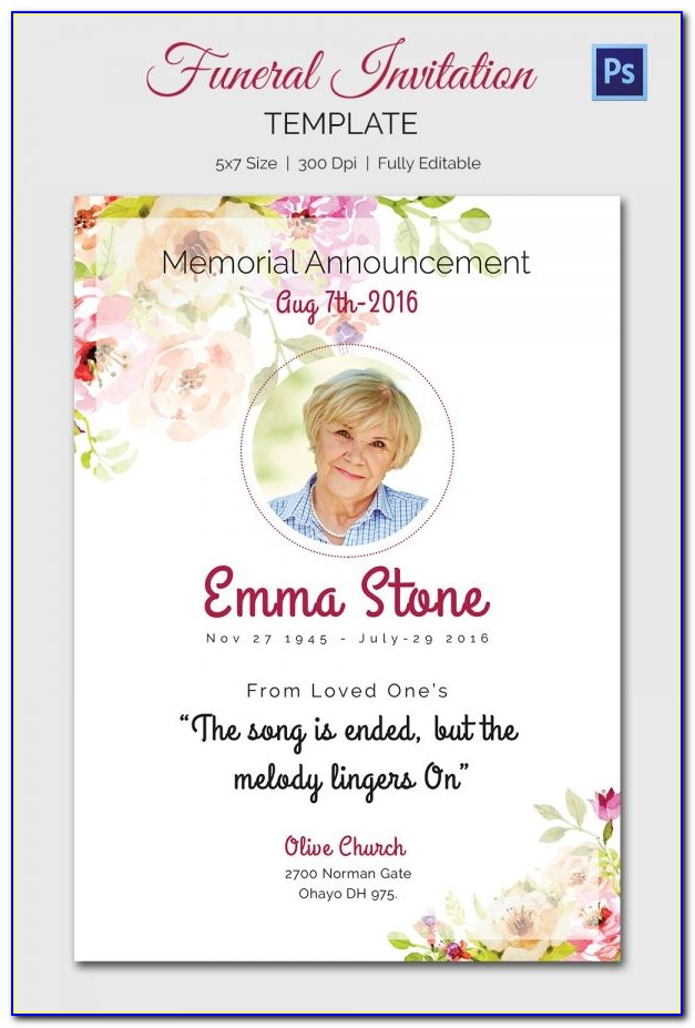 Free Editable Funeral Program Template Microsoft Word