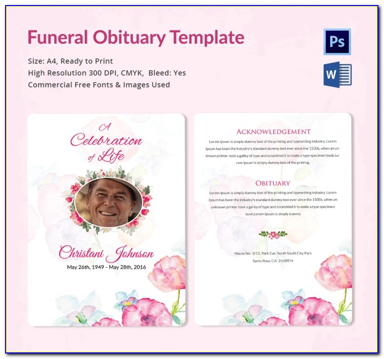 Free Editable Funeral Program Template Photoshop