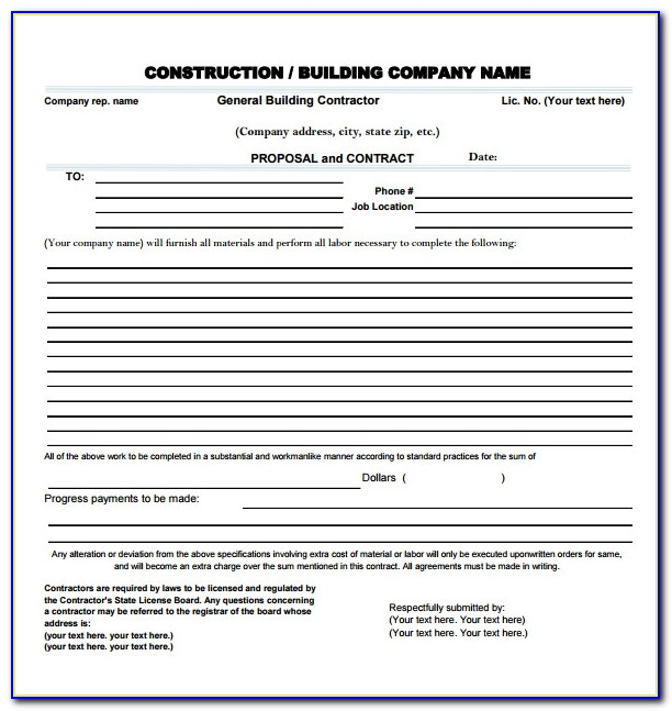 Free Excel Templates For Construction Bids